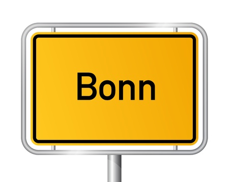 City limit sign Bonn against white background - signage - North Rhine Westphalia, Nordrhein Westfalen, Germany Stock Vector - 17897939