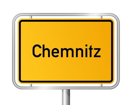 ortseingangsschild: Ortseingangsschild Chemnitz vor weißem Hintergrund - Beschilderung - Sachsen - Sachsen, Deutschland
