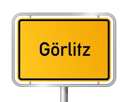 City limit sign Goerlitz against white background - signage - Saxony - Görlitz, Sachsen, Germany