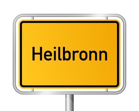 ortseingangsschild: Ortseingangsschild Heilbronn vor weißem Hintergrund - Beschilderung - Baden Wuerttemberg, Baden Wrttemberg, Deutschland Illustration