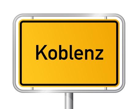 ortseingangsschild: Ortsschild Koblenz gegen weißen Hintergrund - Beschilderung Koblenz - Rheinland-Pfalz, Rheinland Pfalz, Deutschland Illustration