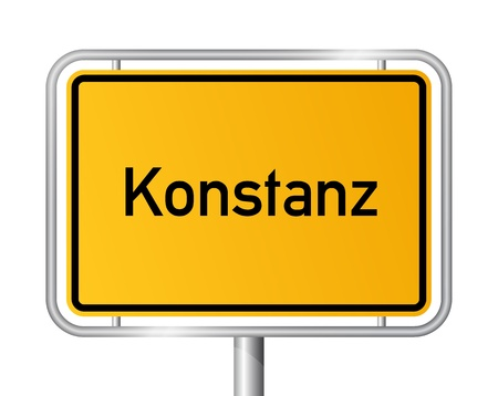 City limit sign Konstanz against white background - signage Constance - Baden Wuerttemberg, Baden Württemberg, Germany Illustration