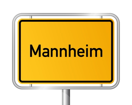 city limit: City limit sign Mannheim against white background - signage - Baden Wuerttemberg, Baden W�rttemberg, Germany
