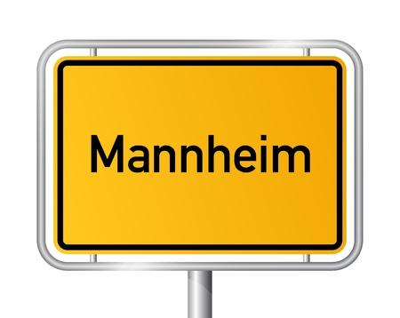 ortseingangsschild: Ortsschild Mannheim gegen weißen Hintergrund - Beschilderung - Baden-Württemberg, Baden Wrttemberg, Deutschland