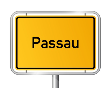 entrance sign: City limit sign Passau against white background - signage - Bavaria, Bayern, Germany