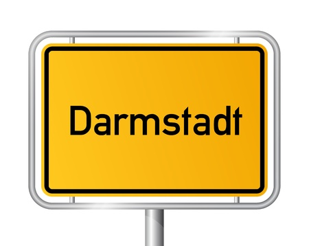 city limit: City limit sign Darmstadt against white background - signage - Hesse, Hessen, Germany