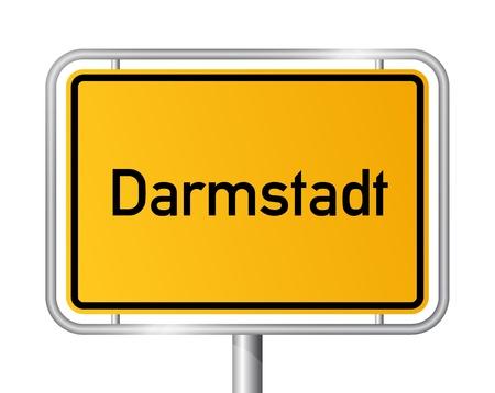 ortseingangsschild: Ortsschild Darmstadt vor weißem Hintergrund - Beschilderung - Hesse, Hessen, Deutschland