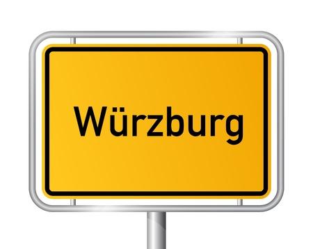 ortseingangsschild: Ortsschild Würzburg vor weißem Hintergrund - Beschilderung Wrzburg - Bayern, Bayern, Deutschland