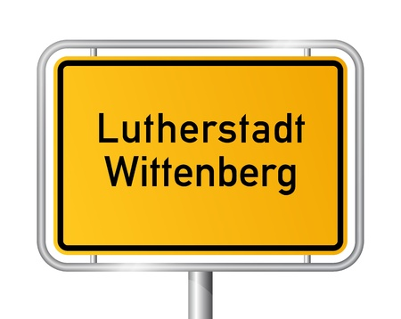 ortsschild: City limit sign Lutherstadt Wittenberg against white background - signage - Saxony Anhalt, Sachsen Anhalt, Germany