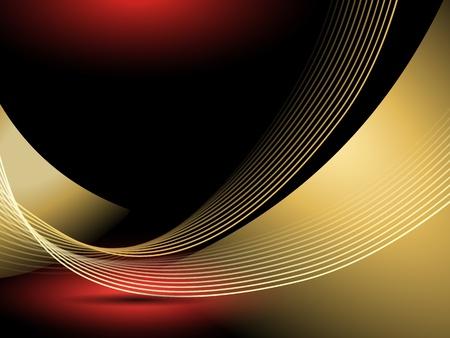 flyer background: Abstracte gouden lijnen tegen een zwarte achtergrond met een rood licht