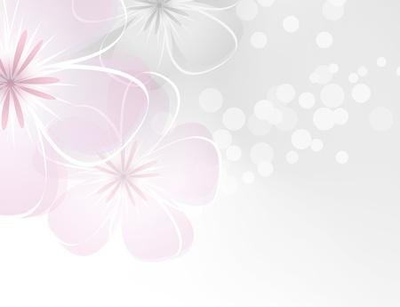 회색 배경에 핑크 흰색 꽃 디자인