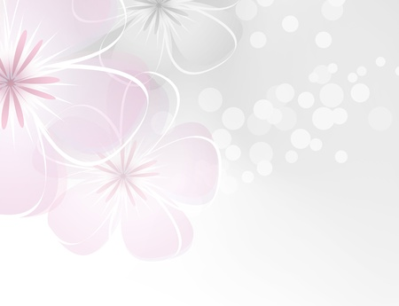 Pink white flower design against grey background