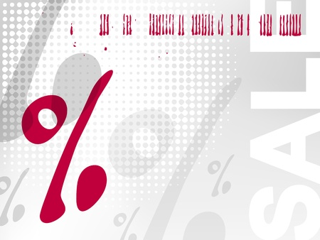 reduction: Sale background with percent sign and barcode