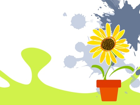Childish landscape background with sunflower Stock Vector - 18435482