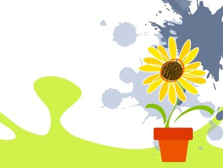 Childish landscape background with sunflower