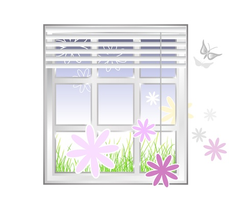 Window with flowers against white background - spring design Vector