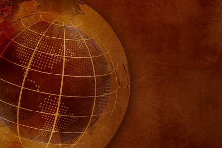 wireframe globe: Old world map - grunge globe on vintage paper texture Stock Photo
