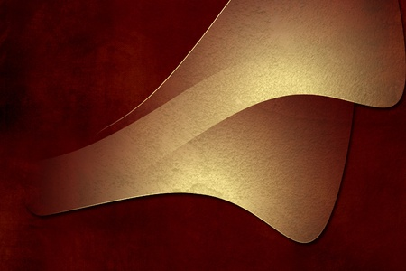 Golden design on red grunge paper background photo