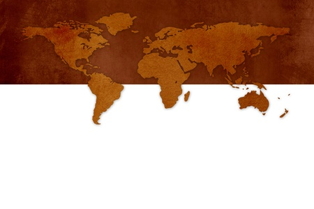 Old grunge world map against white background Stock Photo - 18453839