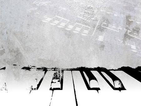 빈티지 음악 배경 - 부드러운 빛 노트 그런 지 피아노 디자인 - 악보 템플릿