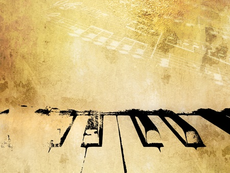 Grunge muziek achtergrond - vintage piano ontwerp met zacht licht noten - bladmuziek template