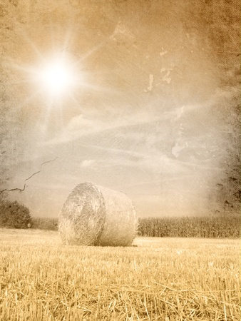 hay bales: Vintage autumn landscape - grunge fall background Stock Photo