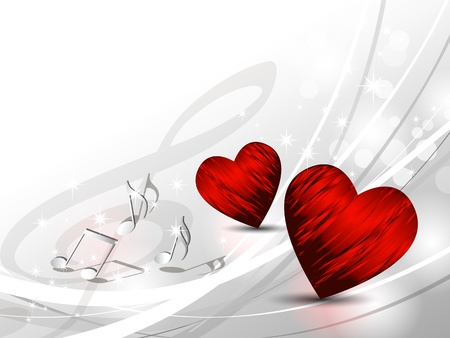 Love background with hearts and music notes - silver grey light wedding template Vector