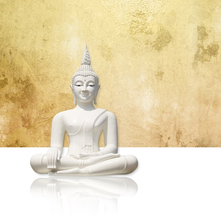 budha: Buddha against gold background - isolated incl  clipping path