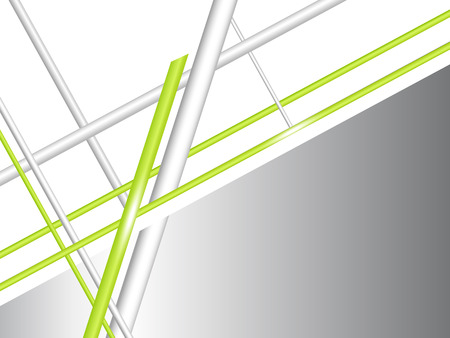 Abstract grey white background with green lines - technology concept Vector