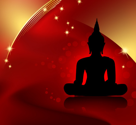 budha: Buddha silhouette against red background with golden border