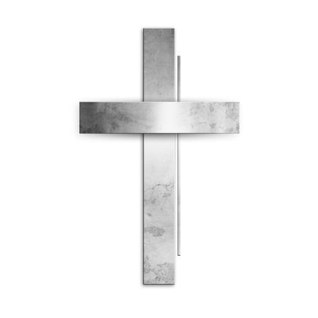 Silver christian cross against white background Reklamní fotografie