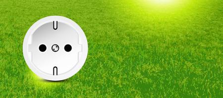 enchufe de luz: Conservación de la energía - socket en la hierba - anuncio de la bandera Vectores