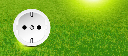 energy conservation: Energy conservation - socket in grass - ad banner