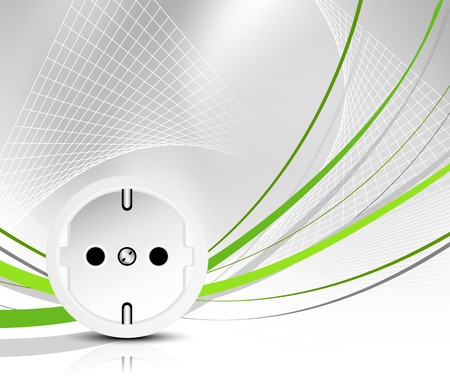 electrical outlet: Energy - green power - outlet with abstract wire Illustration