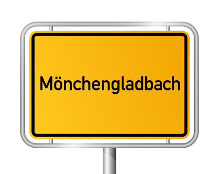 entrance sign: City limit sign Monchengladbach - signage - Germany Illustration