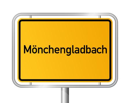 ortseingangsschild: Ortseingangsschild Mönchengladbach - Beschilderung - Deutschland Illustration