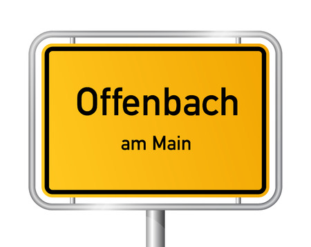 ortsschild: City limit sign Offenbach on the Main - signage - Germany