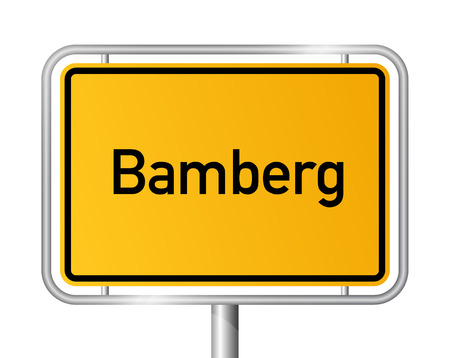 City limit sign Bamberg - signage - Germany Illustration