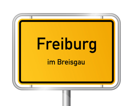 City limit sign Freiburg im Breisgau - signage - Germany Illustration