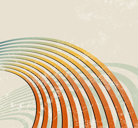 Retro background with curved lines - radio waves - abstract music template Vector