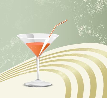 locandina arte: Cocktail in vetro retr� - vintage poster art - sfondo partito