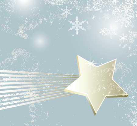 Christmas background - shooting star - winter retro design Vector