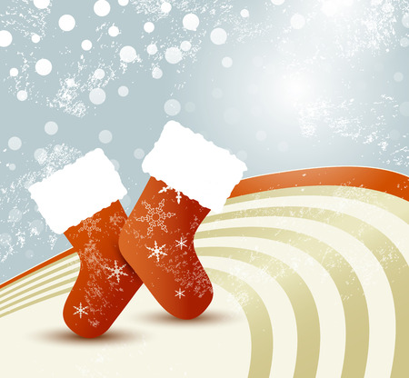 Christmas socks - cute retro xmas background with santa stocking Illustration