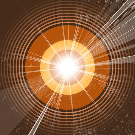 sonar: Retro music background - onde radio - grunge starburst