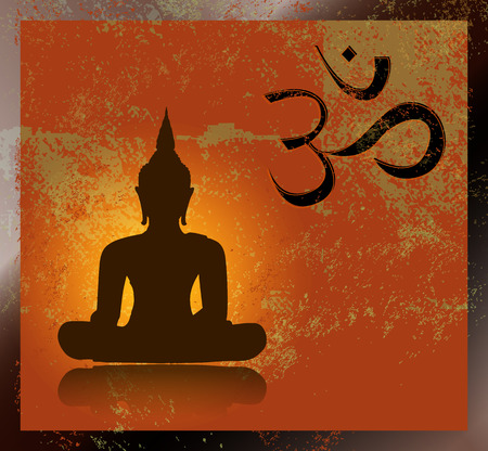 Buddha and om symbol Vector