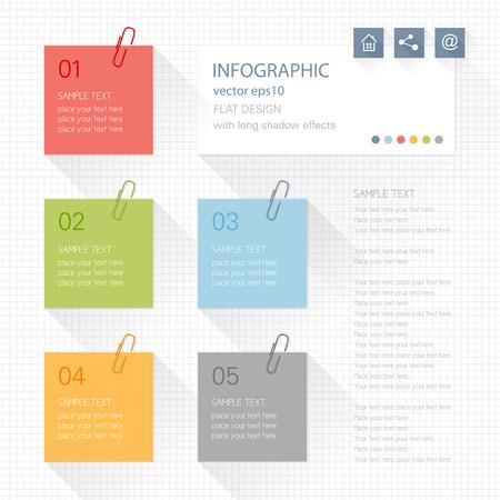 Elementi Infographic - post it note Archivio Fotografico - 27952371