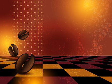 coffee stain: Grunge coffee shop menu background Illustration