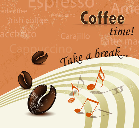 Retro coffee break poster - menu brochure design Vector