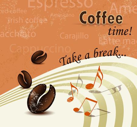 cover background time: Retro coffee break poster - menu brochure design