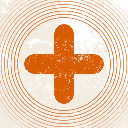 sign orange: Medical symbol - red cross - first aid icon - retro healthcare sign Illustration
